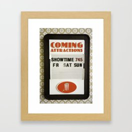 Coming Attractions Theatre Sign with Showtime Framed Art Print