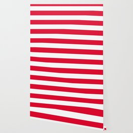 Medium candy apple red - solid color - white stripes pattern Wallpaper