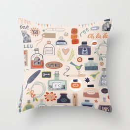 Ink and Things for Writers Throw Pillow