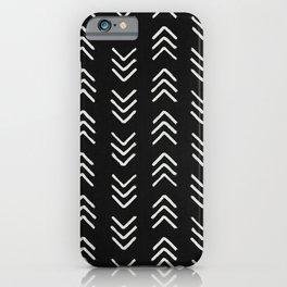 Charcoal & soft white brushed arrow heads, textured background iPhone Case