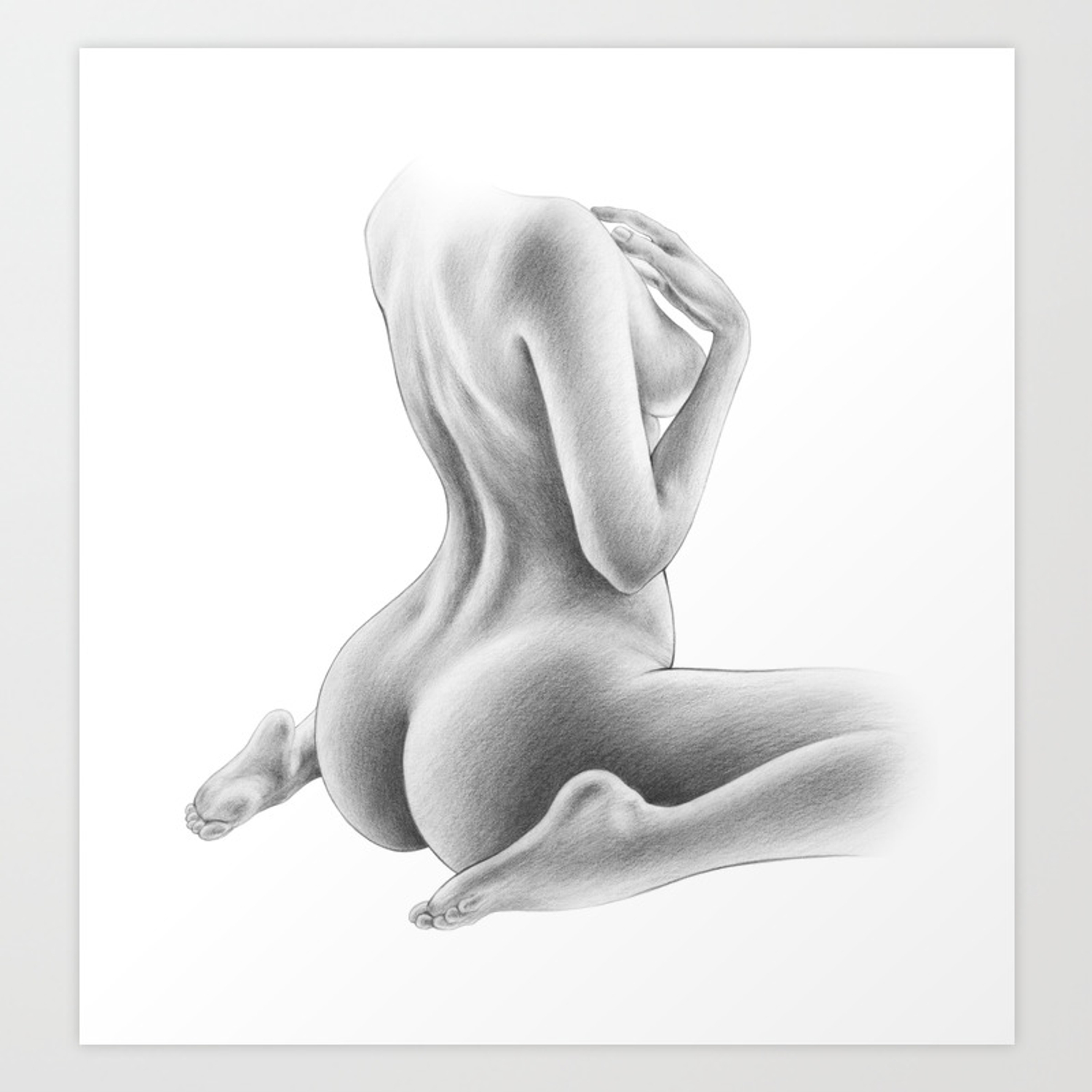Evocative line drawings of the nude female form