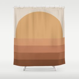 Minimal Retro Sunset / Sunrise - Desert Orange Shower Curtain