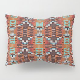 Red Brown Turquoise Orange Native American Indian Mosaic Pattern Pillow Sham