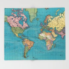 Vintage Map of The World (1897) Throw Blanket