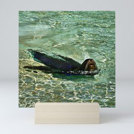 SEA LION in AQUATIC DREAMING WORLD Mini Art Print