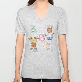 Teddy Bear Alphabet ABC's Green Unisex V-Neck