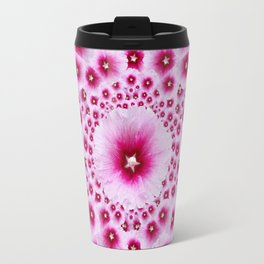 GEOMETRIC FUCHSIA-PINK HOLLYHOCK  PATTERNS Travel Mug