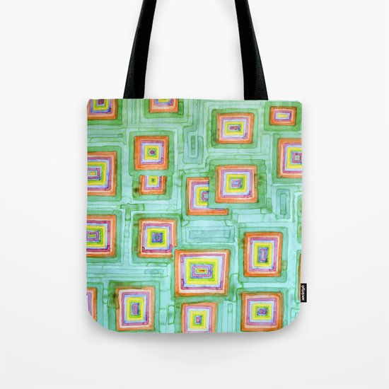 Multicolored Squares on Green Pattern  Tote Bag