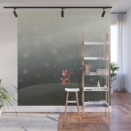 Small winged polka-dotted red cat and stars Wall Mural