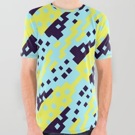 Chocktaw Geometric Square Cutout Pattern - Electric Ray All Over Graphic Tee
