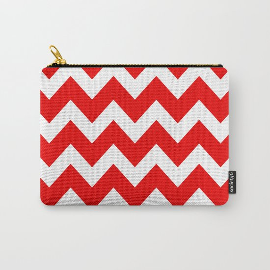 Chevron Red White Carry-All Pouch