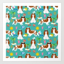 Cavalier King Charles Spaniel beach day tropical vacation socal sunshine Art Print