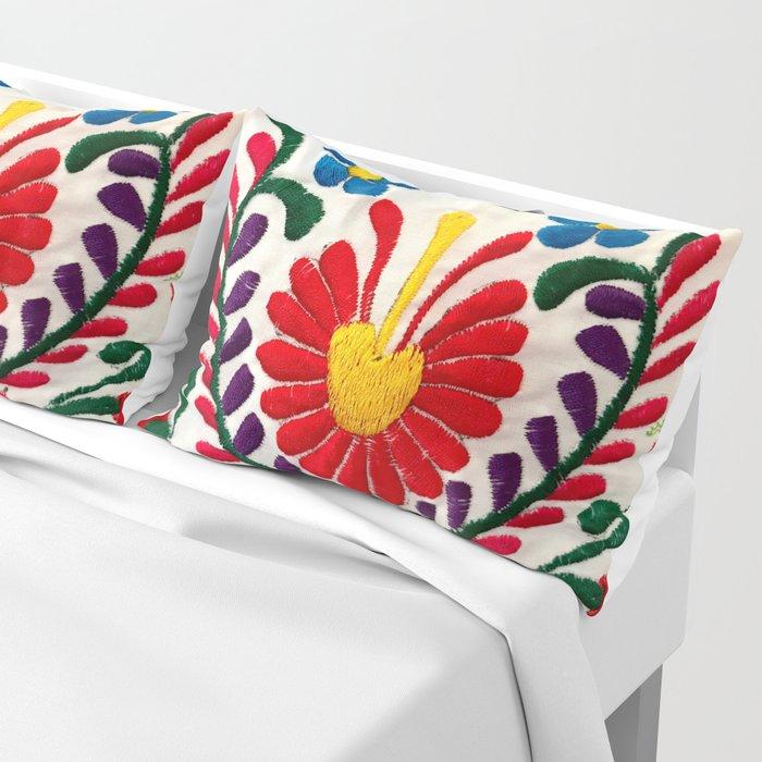 Red Mexican Flower Pillow Sham