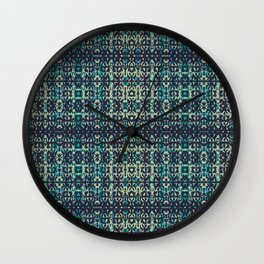 Colourful Wavy Leaves Pattern - Navy Blue, Lime Yellow & Turquoise by artestreestudio Wall Clock