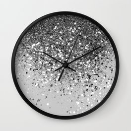 Soft Silver Gray Glitter #1 (Faux Glitter - Photography) #shiny #decor #art #society6 Wall Clock