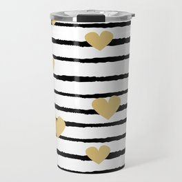 cute pattern with hand drawn gold hearts on black and white stripes Travel Mug