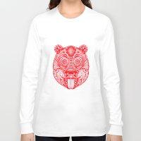 beaver Long Sleeve T-shirts featuring Tiki Beaver  by natewilsongraphics