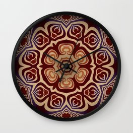 Rambling Rose // Hippy Bohemian Flower Mandala Red Orange Dead Grateful Psychedelic Trippy Wall Clock