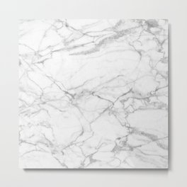 White & Gray Marble Texture Print Metal Print
