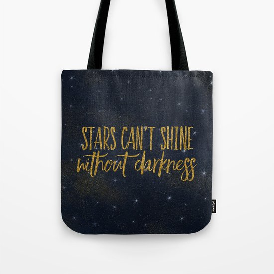 Stars- Darkness - sparkling gold glitter effect night typography 1 on #Society6 Tote Bag