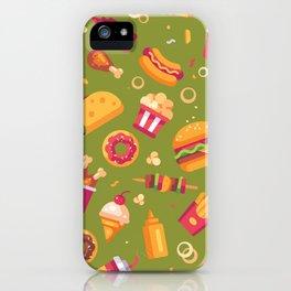 Junk Food Pattern on Vintage Avocado Green iPhone Case