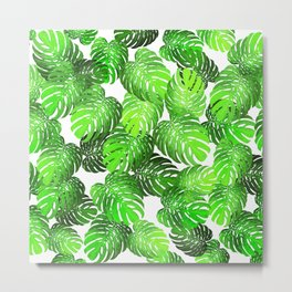 Monstera Leaf Random Pattern Metal Print