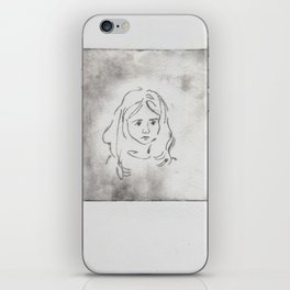 black and white portrait (etching) iPhone Skin