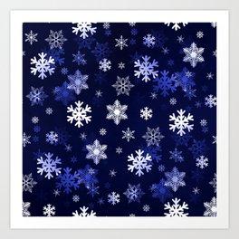 Dark Blue Snowflakes Art Print