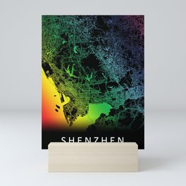 Shenzhen, China, City, Map, Rainbow, Map, Art, Print Mini Art Print