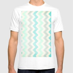 Crazy for Chevron - Vintage Slate MEDIUM White Mens Fitted Tee