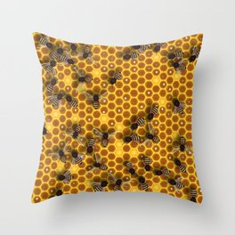 Honeycomb bee background illustration seamless pattern Throw Pillow