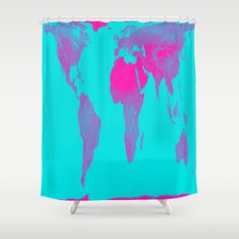 World Map : Gall Peters Turquoise & Pink Shower Curtain