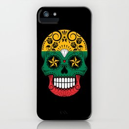 Sugar Skull with Roses and Flag of Lithuania iPhone Case