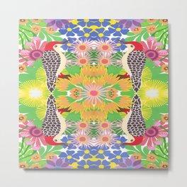 Robin with flowers kaleidoscope Metal Print