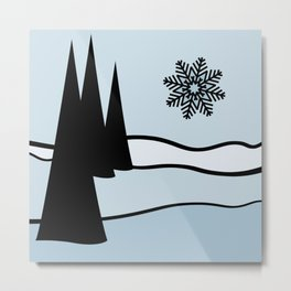 Christmas Trees and Snow Flake Metal Print