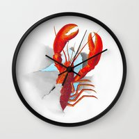 lobster Wall Clocks featuring Lobster!!!!!!!!!!! by Rococco-LA