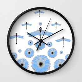 SURREAL WHITE-BLUE DRAGONFLIES FLOWERS ART Wall Clock