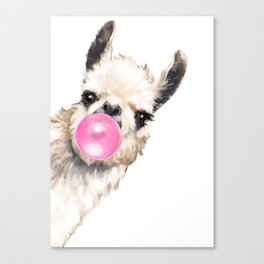Bubble Gum Sneaky Llama Canvas Print