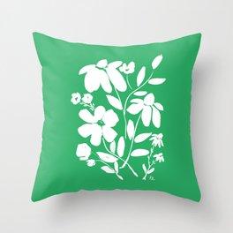 Green and White Flower Bouquet, Minimal Flowers, Simple Flower Design, Modern Daisy Flower Throw Pillow