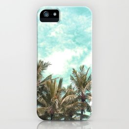 Wild and Free Vintage Palm Trees - Kaki and Turquoise iPhone Case