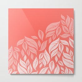 LIVING CORAL LEAVES Metal Print