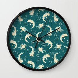 Relaxolotl - Teal Wall Clock