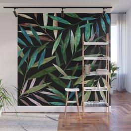 Bamboo Leaves at Night Wall Mural