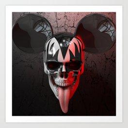 Mickey Kiss Skull Art Print