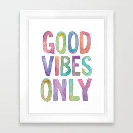 Good Vibes Only Watercolor Rainbow Typography Poster Inspirational childrens room nursery Framed Art Print