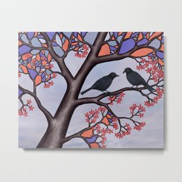 spring crows in the stained glass tree Metal Print