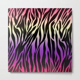 Zebra Print Colorful Gradient Metal Print