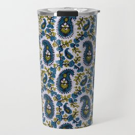 Blockprint Paisley Sage-Blue-White Travel Mug