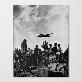 World War II Tailgate Party - Vintage Collage Canvas Print