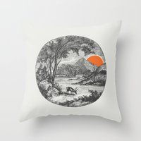 Throw Pillows featuring Another Day by Zeke Tucker